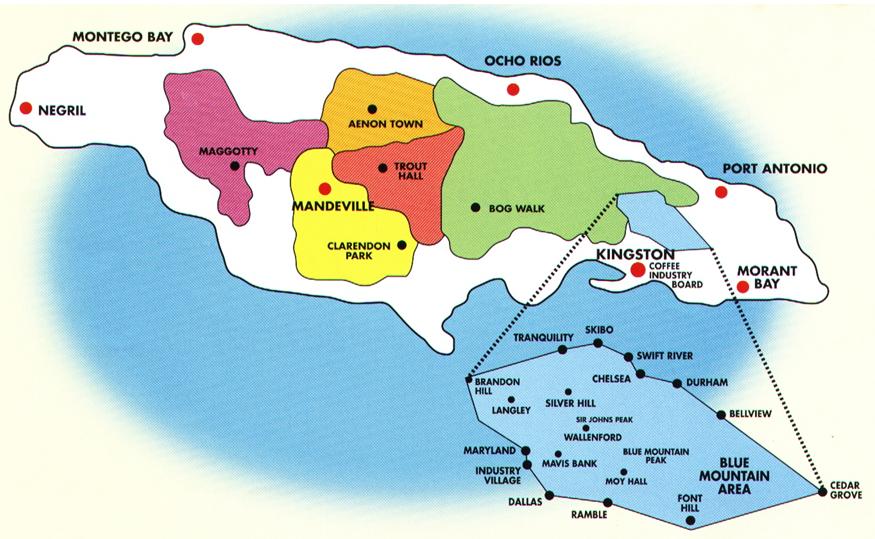 Jamaica coffee map