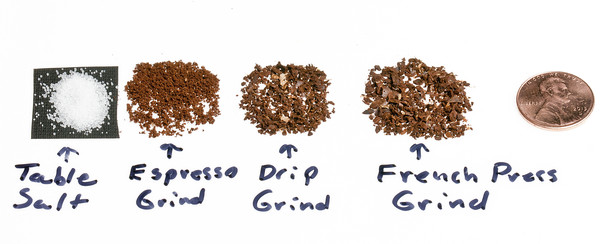 different coffee grind sizes