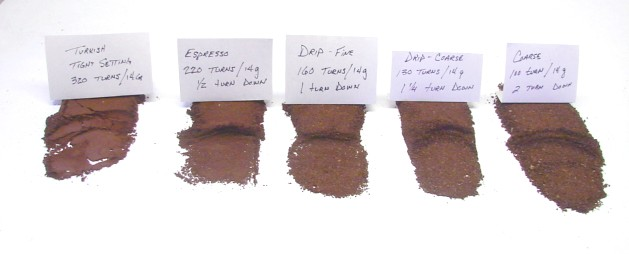 different grind textures for different brewing methods