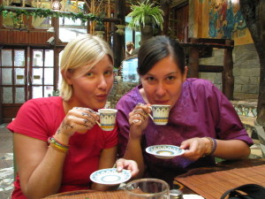 drinking turkish coffee