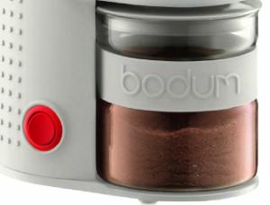 bodum bistro conical burr grinder white close up