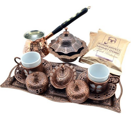 """BOSPHORUS"" 16 Pieces Turkish Greek Arabic Coffee Making Serving Gift Set with Copper Pot Coffee Maker, Cups Saucers, Tray, Sugar Bowl & 6.6 Oz Coffee"