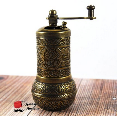 Bazaar Anatolia Turkish Handmade Grinder, Spice Grinder, Salt Grinder, Pepper Mill 4.2'' (3-Antique Gold)