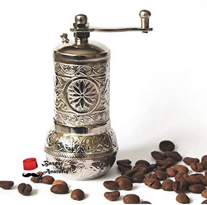 Bazaaranatolia Turkish Grinder, Spice Grinder, Salt Grinder, Pepper Mill 4.2'' (Silver)