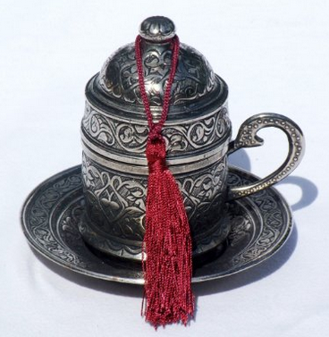 Copper Turkish Coffee Espresso Ottoman Cup & Saucer Set (Antique Silver)