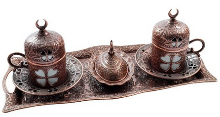 Premium Turkish Greek Arabic Coffee Espresso Serving Set for 2,Cups Saucers Lids Tray Delight Sugar Dish 11pc (Copper Brown)