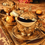 Tiryaki UNIQUE Oriental 11 Piece Espresso Turkish Coffee SET for 2 (2 Porcelain cups,2 copper cup holders,2 lids,2 saucers,1 tray,1 sugar cup and lid)
