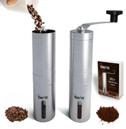 Orvite Ceramic Burr Manual Coffee Grinder - Portable Stainless Steel Conical Mill with Hand Crank - Aeropress & Espresso Compatible