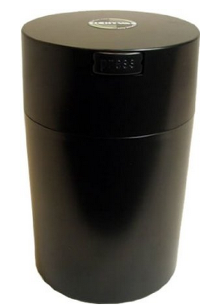 Tightvac Coffeevac 1 Pound Vacuum Sealed Storage Container, Solid Black Body:Cap