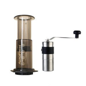 aeropress and coffee grinder