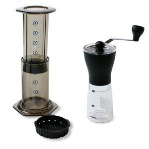 coffee grinder and aeropress