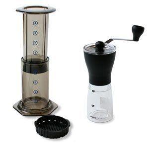 coffee grinder and aeropress