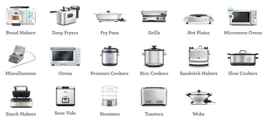 breville list of products information