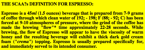 scaa espresso definition