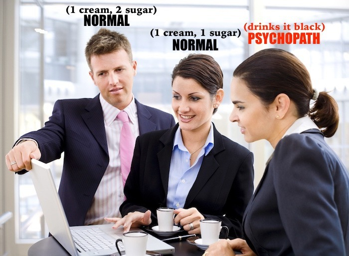 drinking coffee black makes you psycho