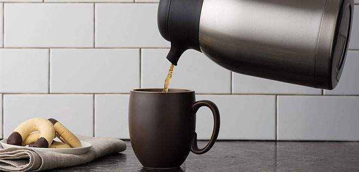 thermal carafe pouring coffee