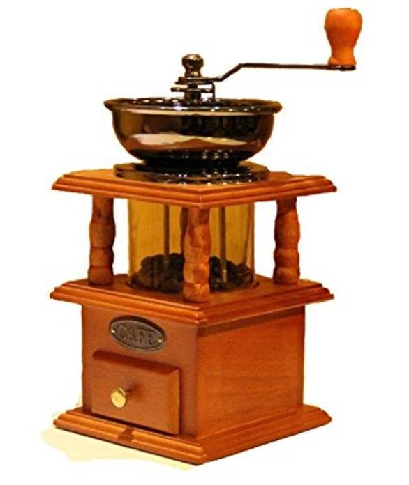 XHHOME Vintage Roman Style Manual Coffee Bean Grinder Cast Iron Core Mill, Double Closed Bin with Wooden Case