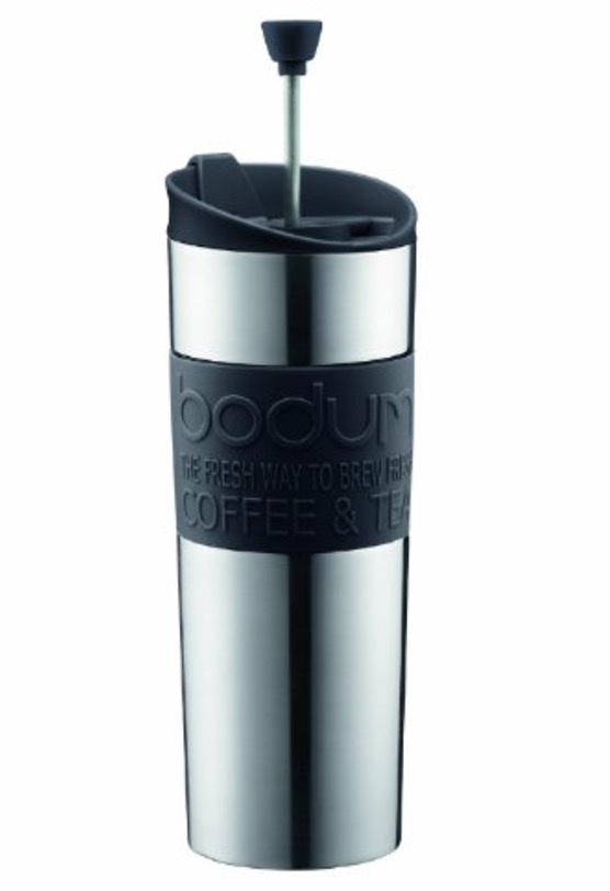 Bodum Travel Tea and Coffee Press, Stainless Steel Insulated Travel Mug