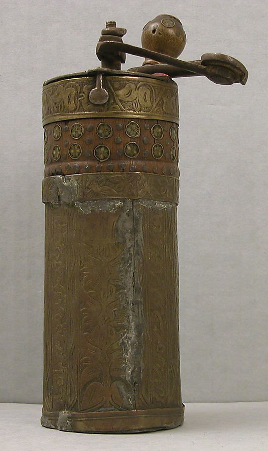 19th century egyptian or turkish brass coffee mill