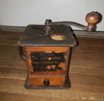 waddell company wood box coffee grinder mill